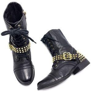 Steve Madden Ternn Black Gold Studded Combat Boots